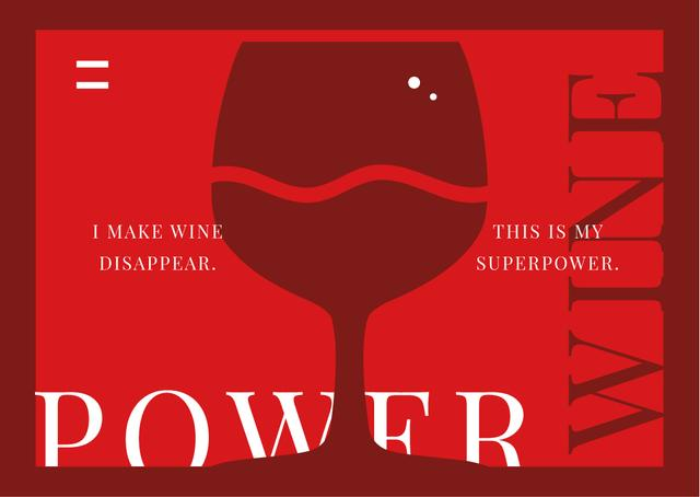 Template di design Glass with red wine Postcard
