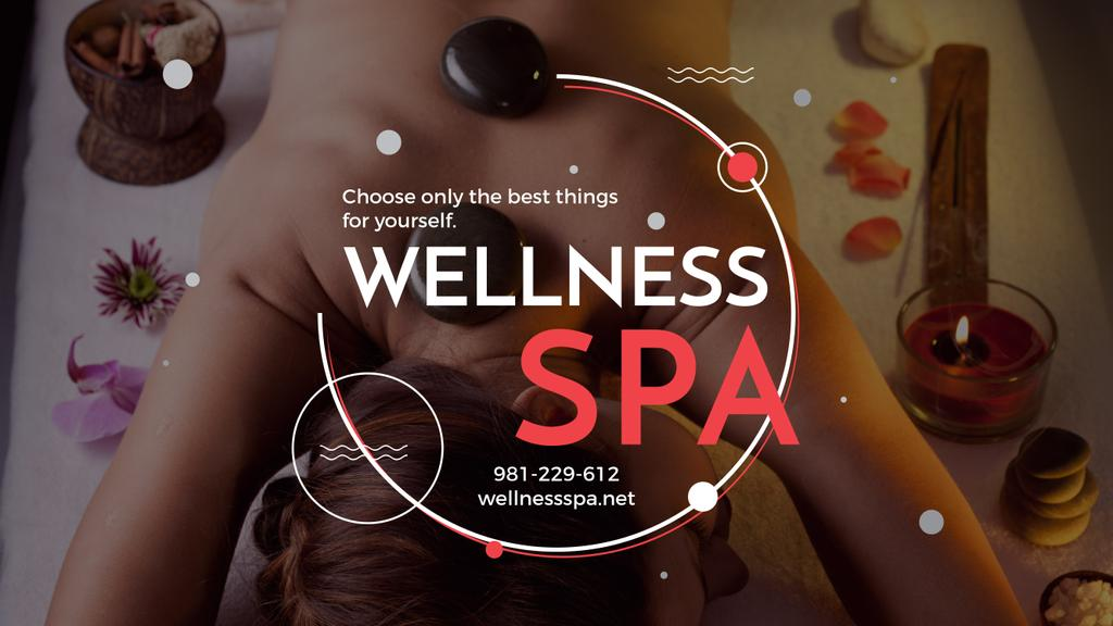 Wellness Spa Ad Woman Relaxing at Stones Massage | Youtube Channel Art — Crea un design