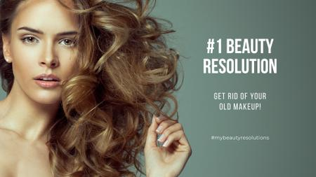 Ontwerpsjabloon van Presentation Wide van Beauty resolution with Curly Young Woman