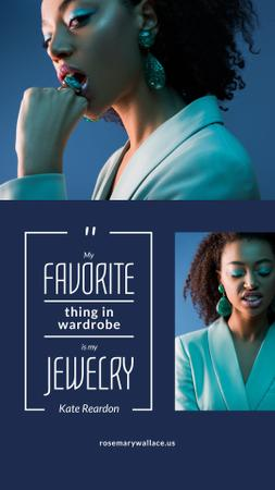 Plantilla de diseño de Jewelry Quote Woman in Stylish Earrings in Blue Instagram Story
