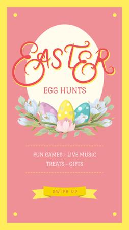 Plantilla de diseño de Easter Greeting Colored Eggs in Nest Instagram Video Story