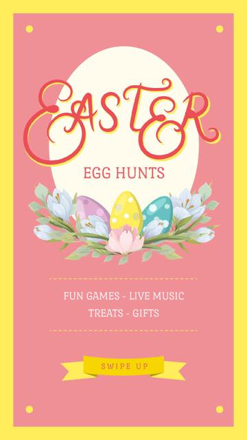 Easter Greeting Colored Eggs in Nest Instagram Video Story Design Template