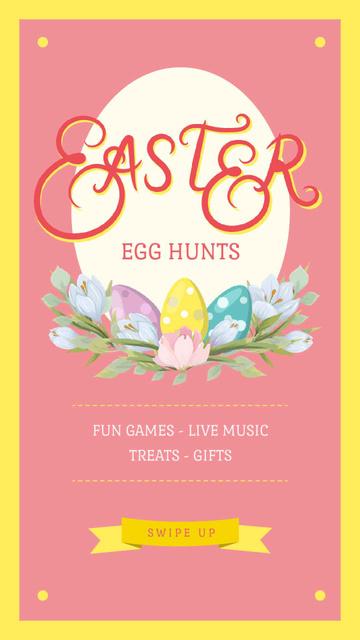 Modèle de visuel Easter Greeting Colored Eggs in Nest - Instagram Video Story