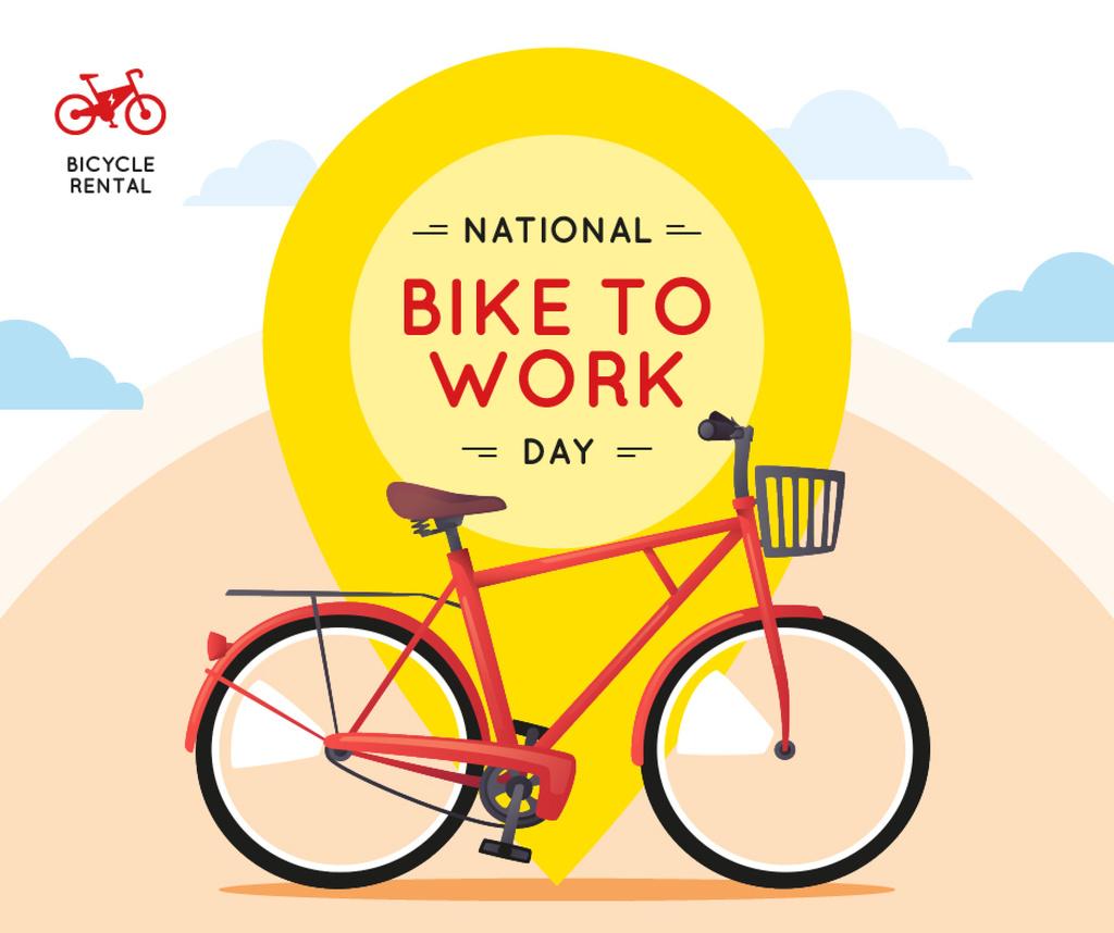 Modern city bicycle on Bike to Work Day — Modelo de projeto