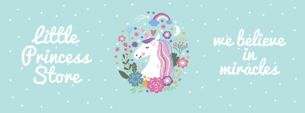 Kids' store ad Unicorn in flowers frame — Create a Design