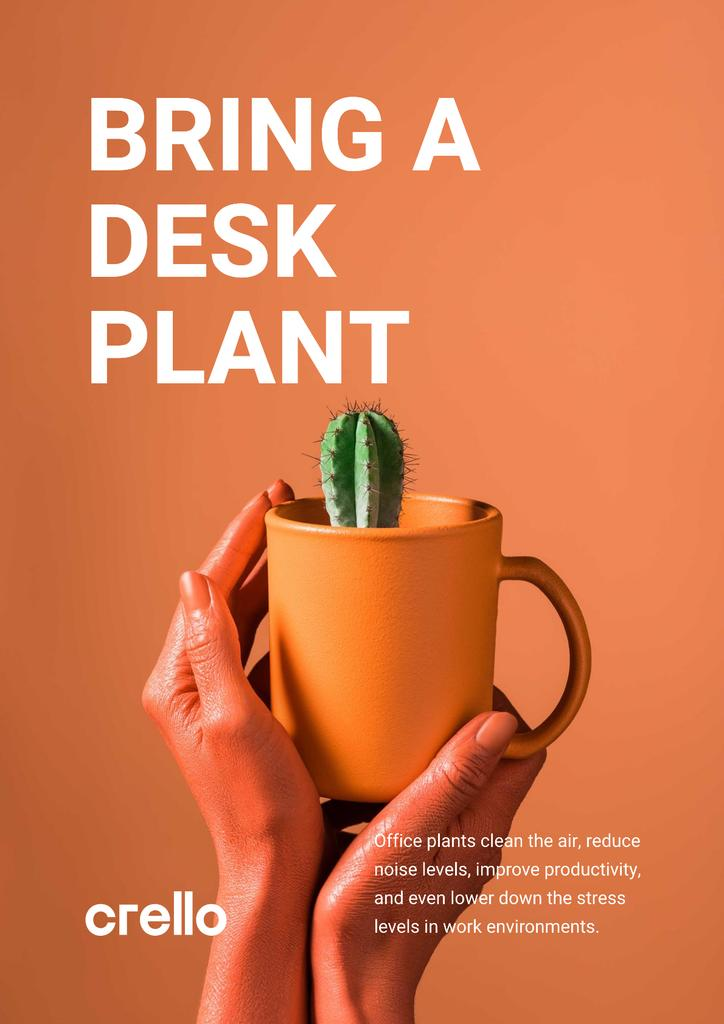 Ecology Concept Hands with Cactus in Cup Poster Design Template