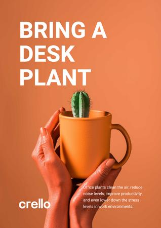 Ecology Concept Hands with Cactus in Cup Poster – шаблон для дизайну