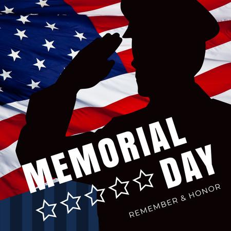USA Memorial Day with Soldier Silhouette Instagram – шаблон для дизайну