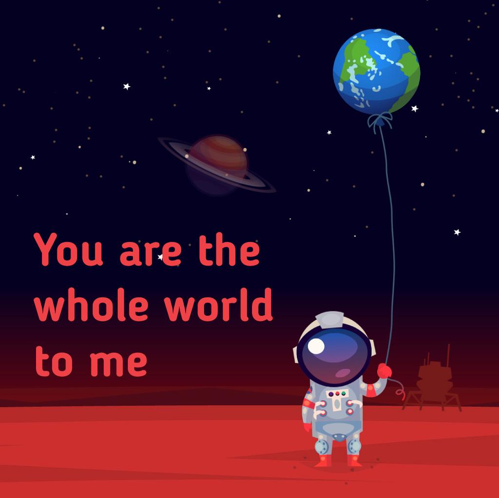 Astronaut holding Earth balloon — Crear un diseño