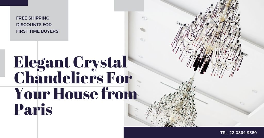 Elegant crystal Chandeliers Offer Facebook ADデザインテンプレート