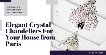Elegant crystal Chandeliers Offer Facebook AD Design Template