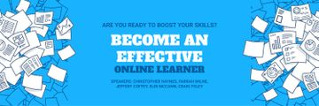 Online Learning Event Announcement Papers in Blue | Twitter Header Template