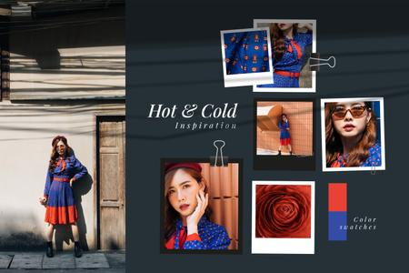 Woman in colorful clothes Mood Board Modelo de Design