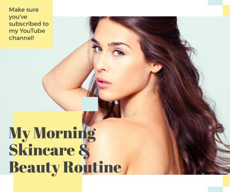 Modèle de visuel Skincare Routine Tips Woman with Glowing Skin - Facebook