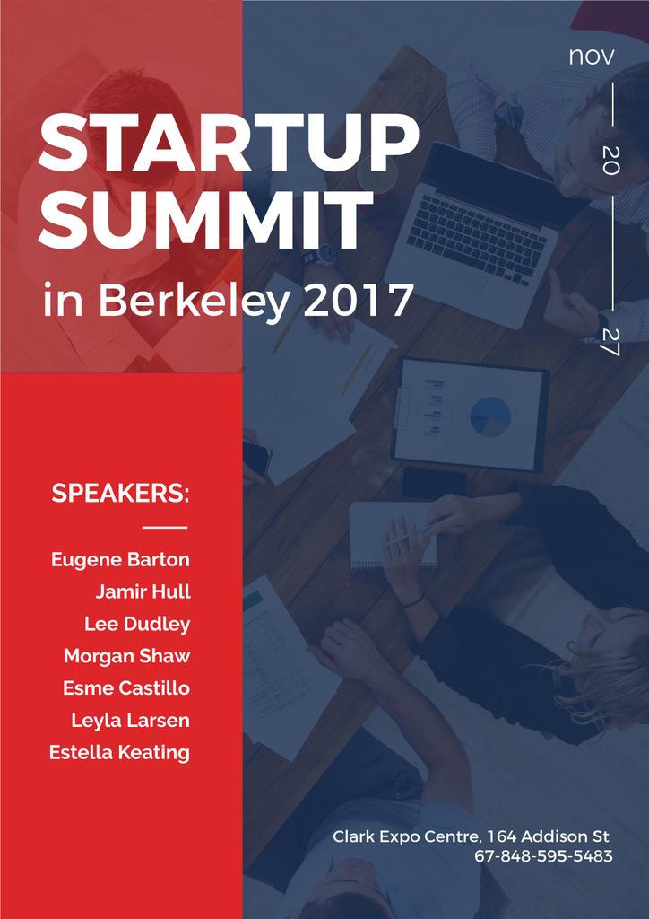 Startup Summit Announcement Business Team at the Meeting | Poster Template — ein Design erstellen