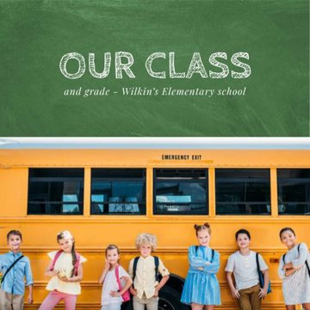 Plantilla de diseño de Cute Kids near School Bus Photo Book