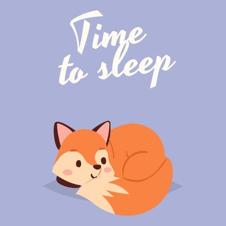 Designvorlage Sleepy Cute red Fox für Animated Post