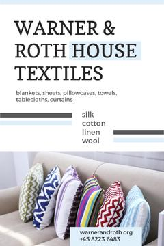 House Textiles Ad with Colorful Pillows