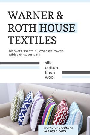 Ontwerpsjabloon van Pinterest van House Textiles Ad with Colorful Pillows