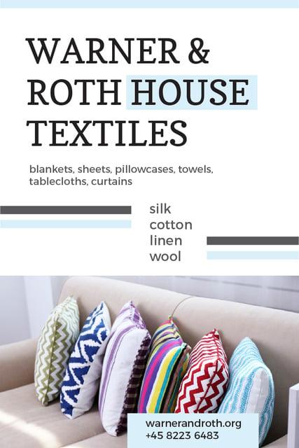 Plantilla de diseño de House Textiles Ad with Colorful Pillows Pinterest