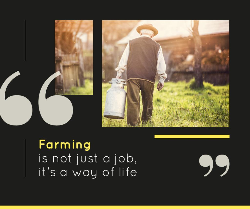 Farming Business Quote Man Working in Village | Facebook Post Template — Создать дизайн