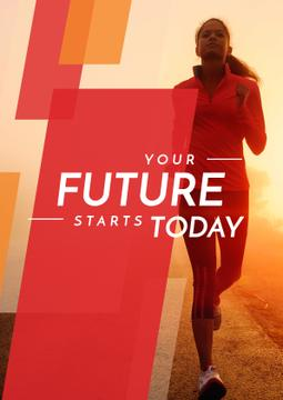 Motivational Sports Quote with Running Woman in Red
