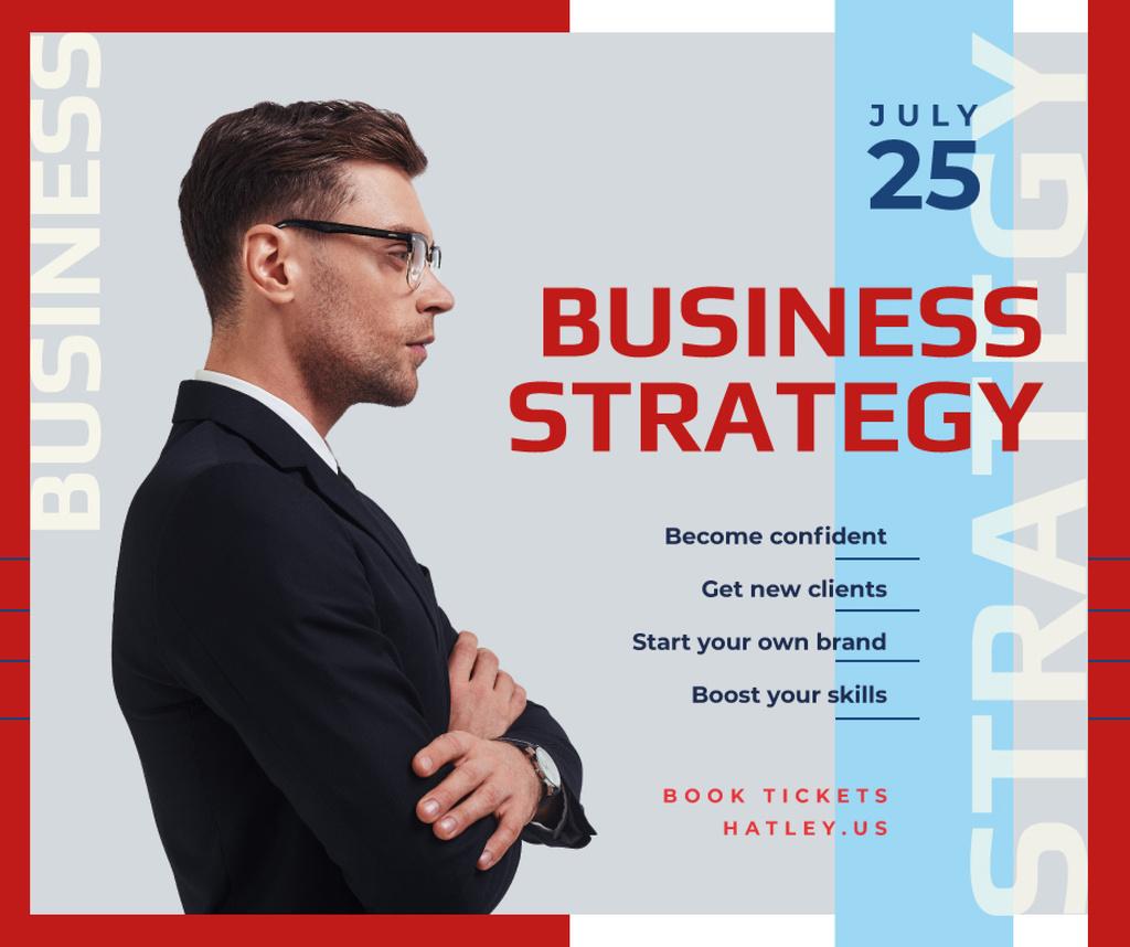 Business Event Announcement Confident Man in Suit   Facebook Post Template — Modelo de projeto
