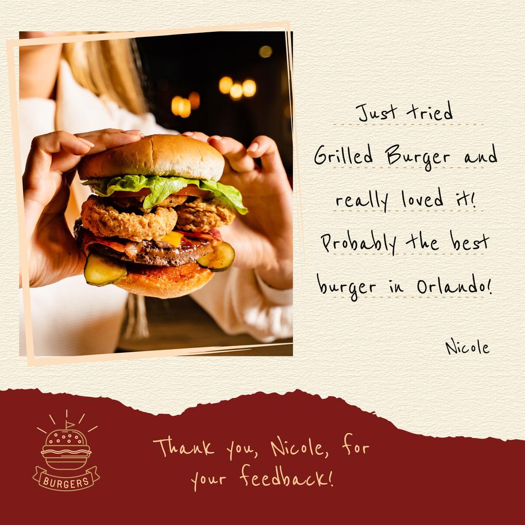 Restaurant Menu Woman Holding Juicy Burger | Instagram Post Template — Створити дизайн