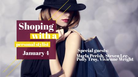 Modèle de visuel Shopping quote Stylish Woman in Hat - FB event cover