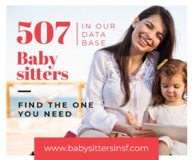 Ontwerpsjabloon van Medium Rectangle van Baby Sitters Service Promotion Woman and Girl Reading