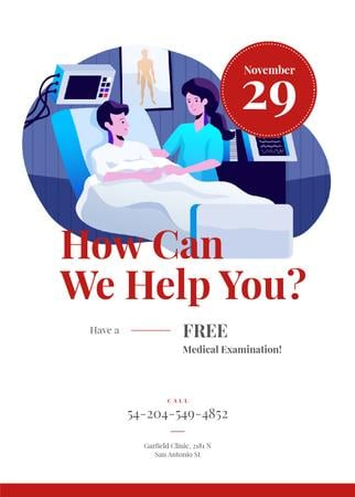 Doctor supporting patient in Hospital Invitation Modelo de Design