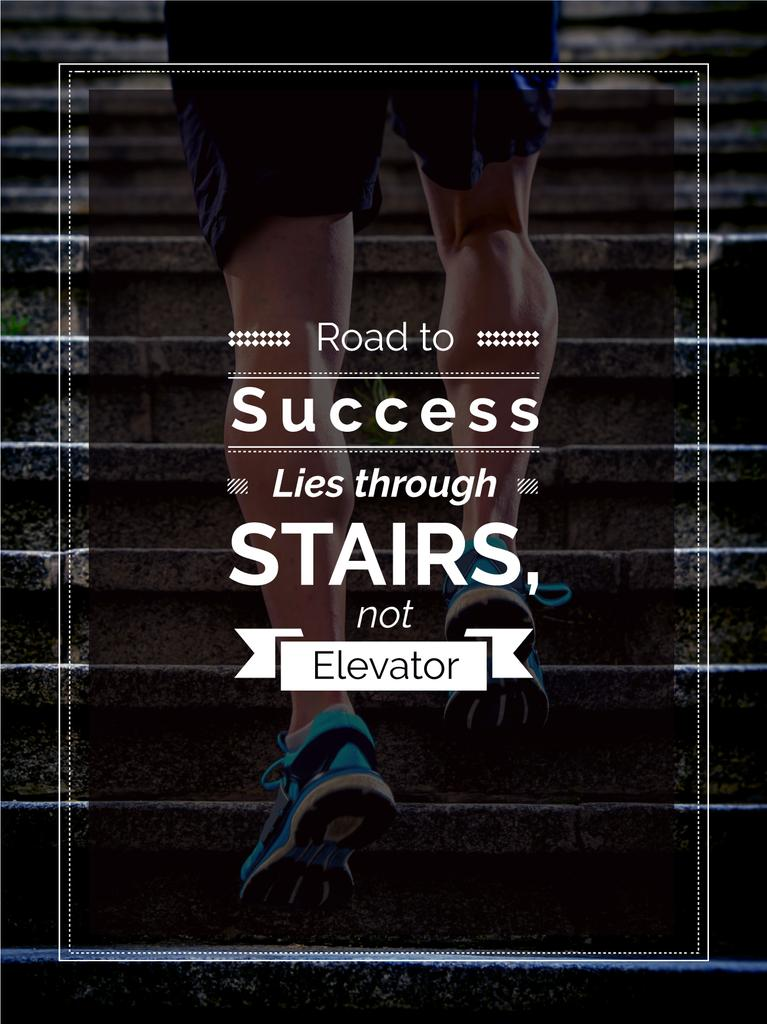 Road to success lies through stairs, not elevator motivational quote  — Create a Design