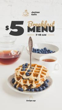 Breakfast Offer Hot Delicious Waffles | Stories Template