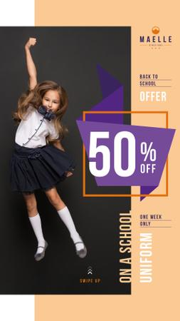 Designvorlage Back to School Offer Jumping Schoolgirl für Instagram Story