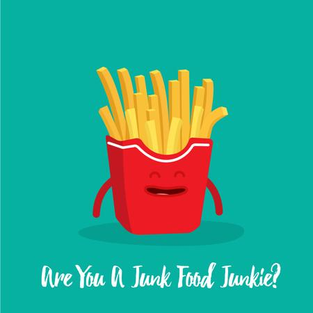 Cheerful French Fries in carton Animated Post Design Template