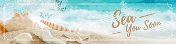 travel banner with sandy seashore