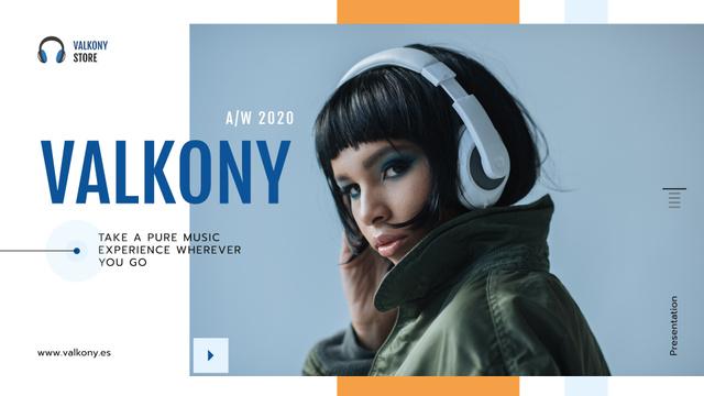 Plantilla de diseño de Digital Devices Ad with Woman in Headphones Presentation Wide