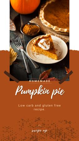 Modèle de visuel Baked pumpkin pie on Thanksgiving - Instagram Story