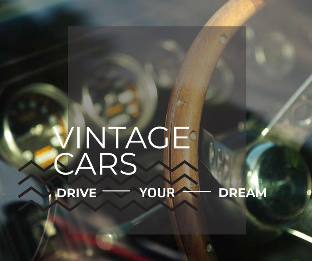 Ontwerpsjabloon van Facebook van Shiny vintage car interior
