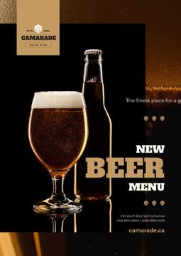 Beer Offer with Lager in Glass and Bottle