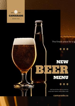 Beer Offer with Lager in Glass and Bottle Poster Modelo de Design