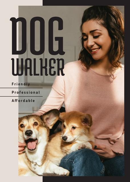Dog Walking Services Woman with Puppies Flayer Modelo de Design