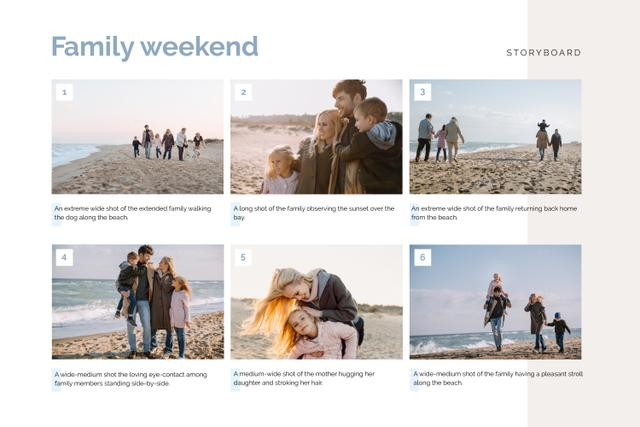 Happy Family on Weekend by the Sea Storyboard Design Template