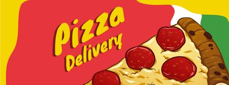 Pizza delivery service with tasty slice Facebook cover Tasarım Şablonu