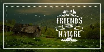 Nature Quote Scenic Mountain View | Twitter Post Template