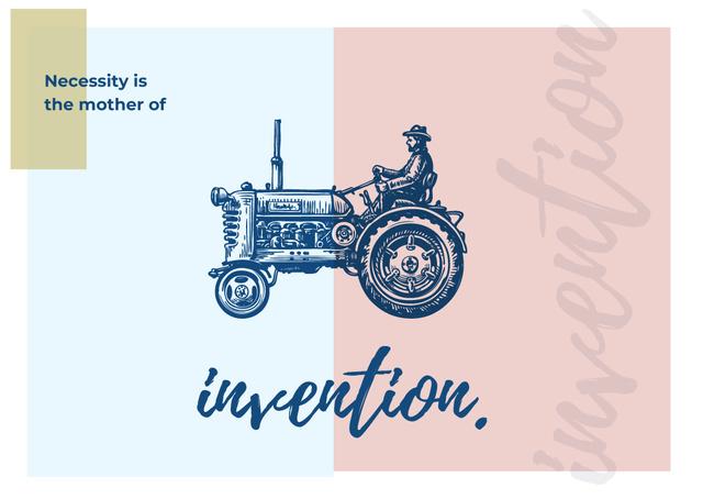 Farmer riding on tractor illustration Postcard Modelo de Design