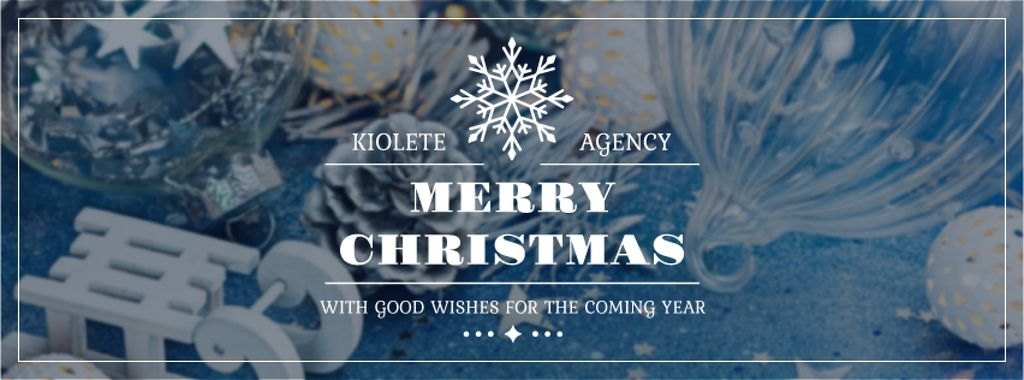 Christmas Greeting Shiny Decorations in Blue | Facebook Cover Template — Créer un visuel