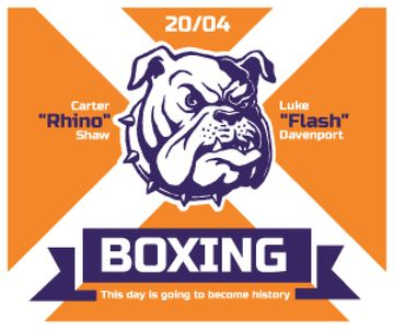 Boxing Match Announcement Bulldog on Orange | Medium Rectangle Template