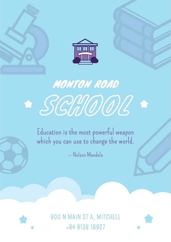 School Advertisement Education Icons in Blue | Poster Template — Создать дизайн