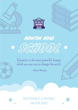 School Advertisement Education Icons in Blue | Poster Template